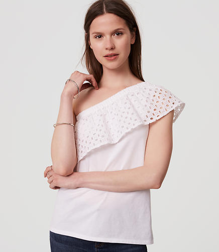 Image of Eyelet One Shoulder Top