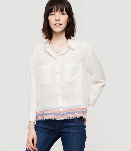 Image of Lou & Grey Fringestripe Cropped Button Down Shirt