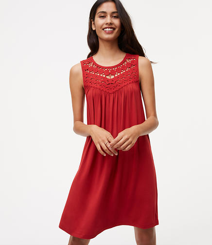 Image of Crochet Yoke Swing Dress