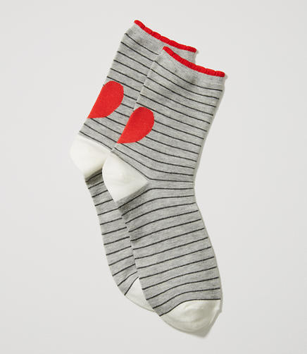 Image of Heart Stripe Crew Socks