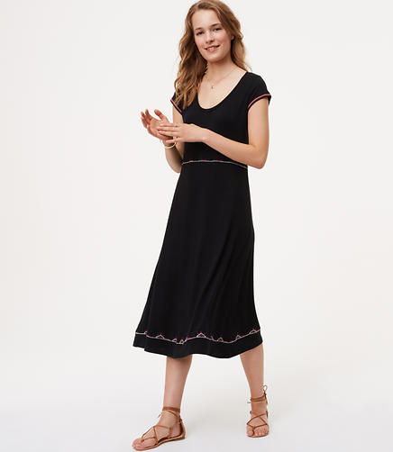 Image of Embroidered Midi Dress