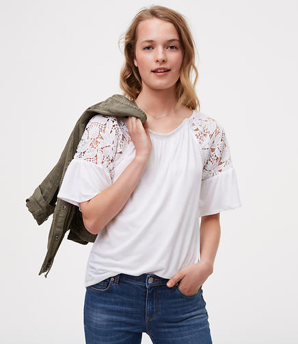 Image of Floral Lace Flounce Top