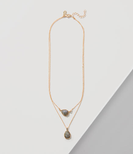 Image of Double Strand Stone Pendant Necklace