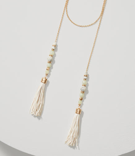 Image of Marbleized Beaded Tassel Wrap Necklace