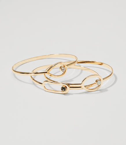 Image of Geometric Stone Bangle Set
