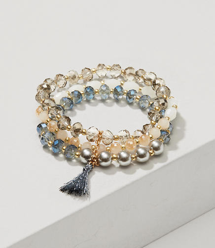 Image of Pearlized Tassel Multistrand Stretch Bracelet