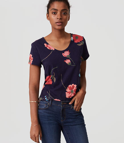 Image of Petite Breezy Floral Vintage Soft Tee
