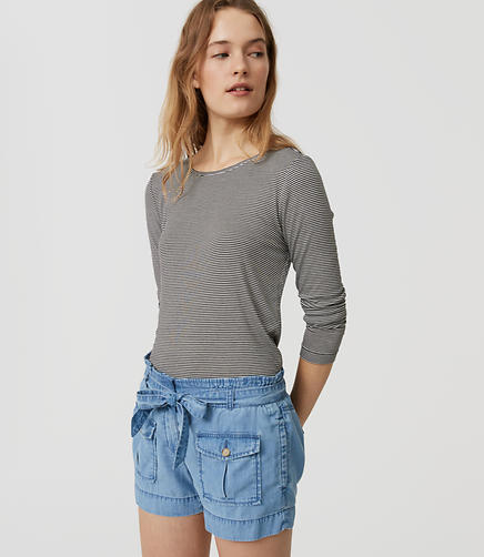 Image of Chambray Safari Shorts in Light Indigo Wash