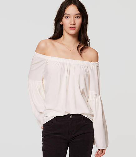 Image of Off the Shoulder Bell Sleeve Blouse