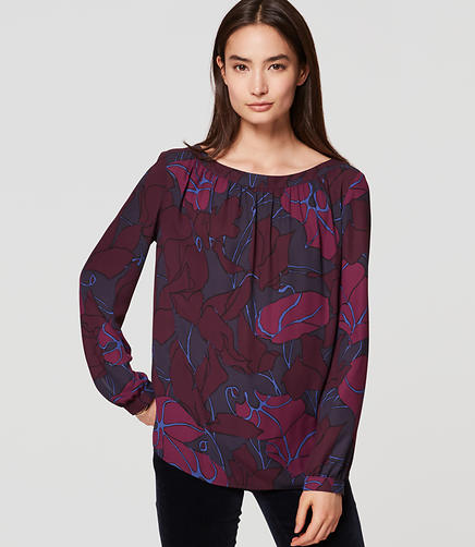 Image of Printed Shirred Blouse