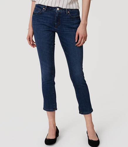 Image of Curvy Skinny Crop Jeans in Pure Dark Indigo Wash