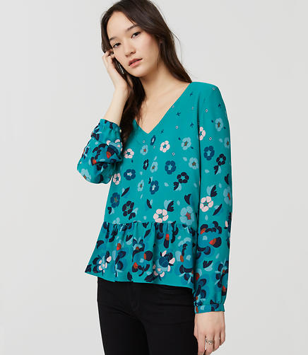 Image of Floral Peplum Blouse