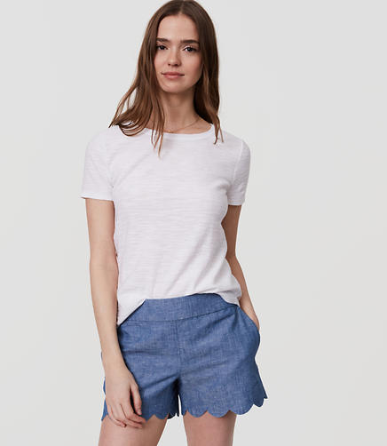 Image of Scalloped Chambray Shorts