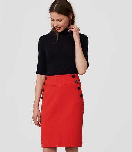 Image of Bi-Stretch Sailor Pencil Skirt