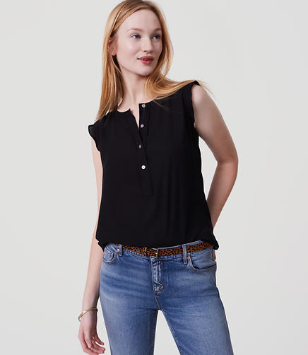 Image of Ruffle Henley Shell