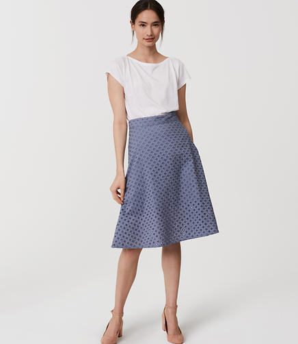Image of Eyelet Midi Skirt
