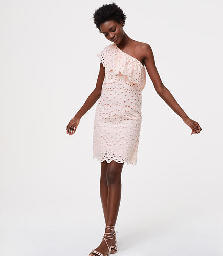 Image of Eyelet One Shoulder Dress