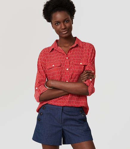 Image of Petite Tiled Henley Utility Blouse