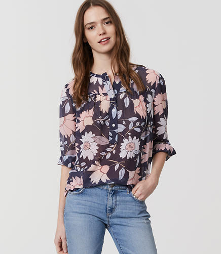 Image of Petite Printed Shirred Henley Blouse