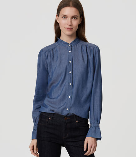 Image of Petite Chambray Ruffle Neck Softened Shirt