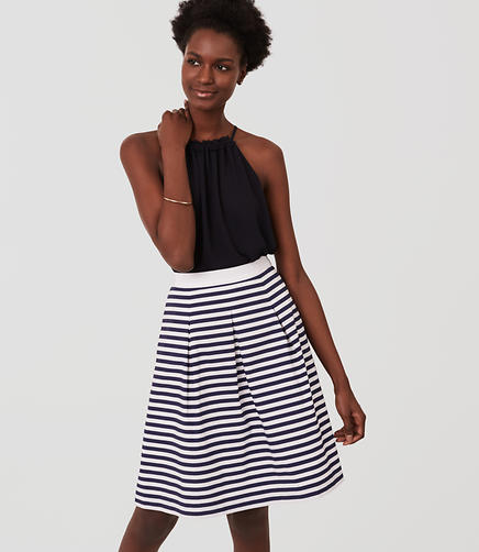 Image of Striped Pleated Skirt