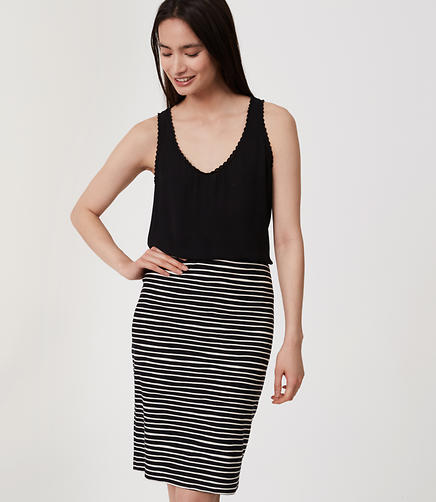 Image of Striped Pull On Pencil Skirt