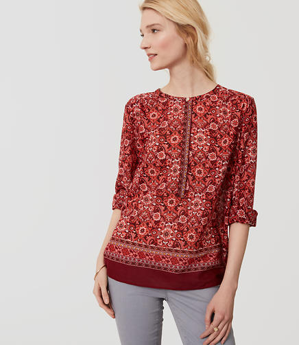 Image of Scarlet Bouquet Henley Softened Shirt