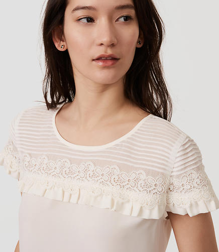 Image of Pintucked Lace Ruffle Top