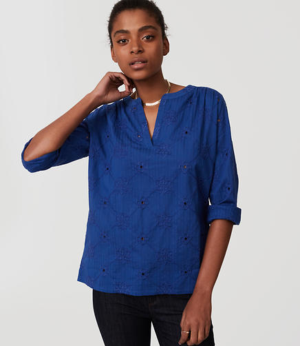 Image of Petite Eyelet Split Neck Softened Shirt