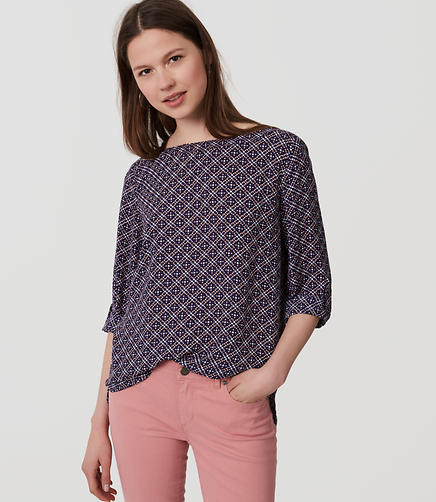 Image of Diamond Dot Tab Sleeve Blouse