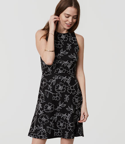 Image of Sketched Floral Flare Dress