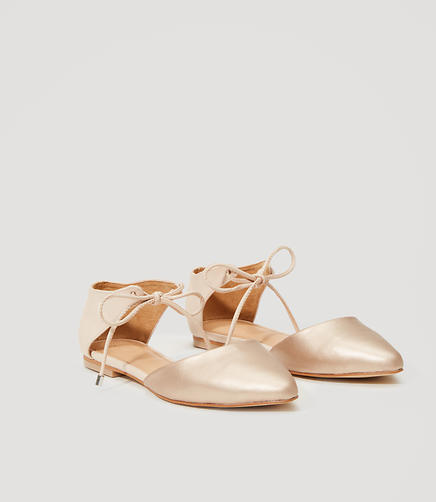 Image of Metallic Ankle Tie Flats