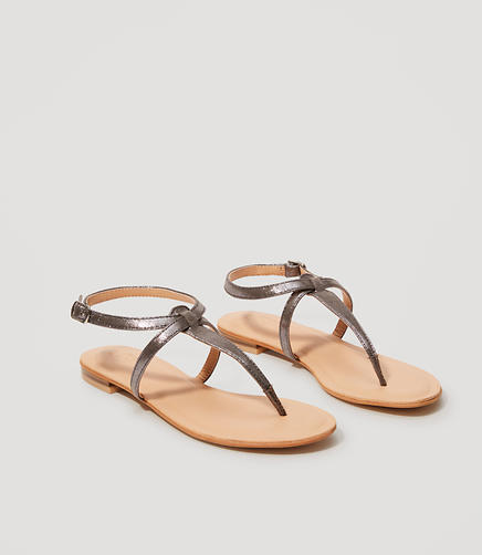 Image of Metallic Thong Gladiator Sandals