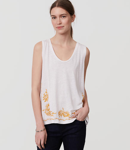 Image of Floral Embroidered Tank