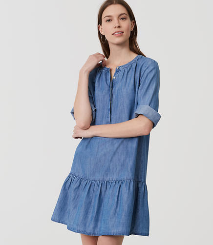 Image of Chambray Flounce Shirtdress