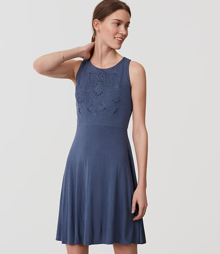 Image of Eyelet Bodice Flare Dress