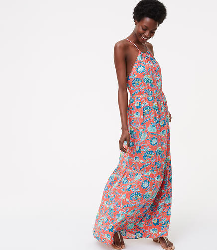 Image of LOFT Beach Floral Tiered Halter Maxi Dress
