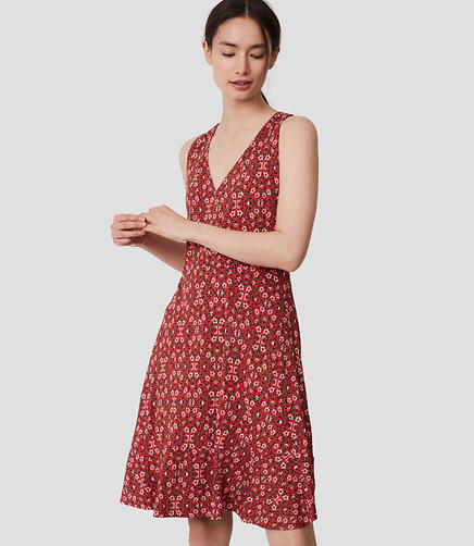 Image of Floral V-Neck Flare Dress