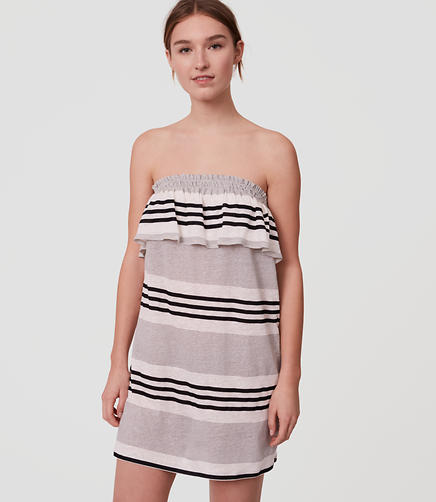 Image of LOFT Beach Striped Strapless Dress