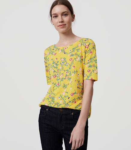 Image of Petite Floral Ballet Neck Tee