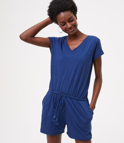 Image of LOFT Beach Drawstring V-Neck Romper