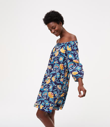 Image of LOFT Beach Floral Off the Shoulder Dress