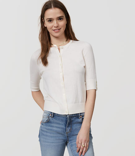 Image of Petite Signature Short Sleeve Cardigan