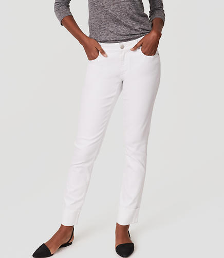 Image of Petite Curvy Frayed Cuff Straight Leg Jeans in White