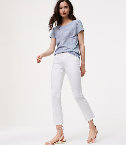 Image of Petite Modern Fresh Cut Flare Crop Jeans in White