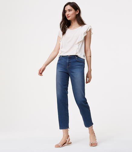 Image of Petite Straight Crop Jeans in Vintage Blue Wash