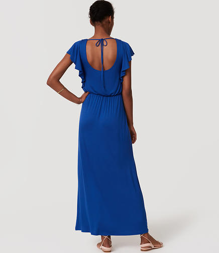 Image of Petite Flutter Tie Back Maxi Dress