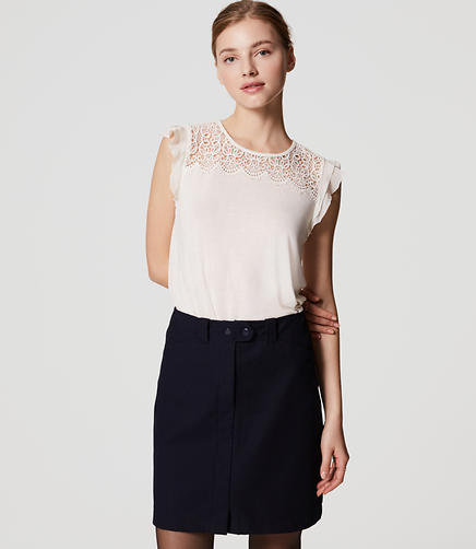 Image of Lace Yoke Flutter Top