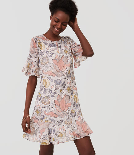 Image of Petite Shimmer Floral Flounce Dress