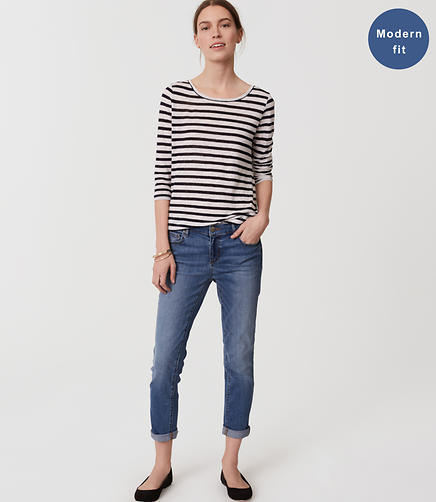 Image of Modern Skinny Crop Jeans in Bright Mid Indigo Wash
